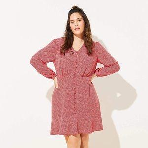 LOFT Long Sleeve Heart Button Up Dress Size 20